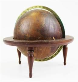 ca 1835 Murdock wooden globe on stand