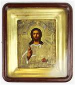 Russian mixed metals icon in gilt frame