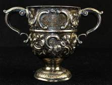 18th c. Dublin sterling silver handled loving cup