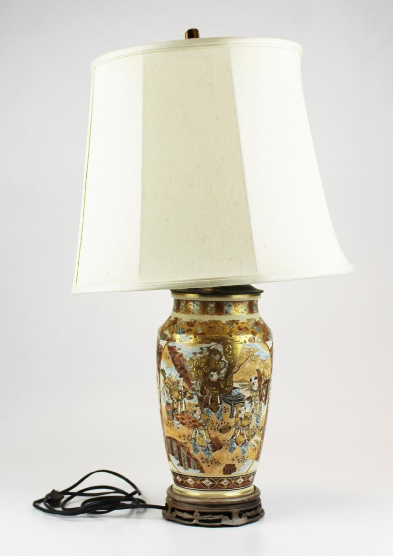 large 20th c Japanese Satsuma vase table lamp