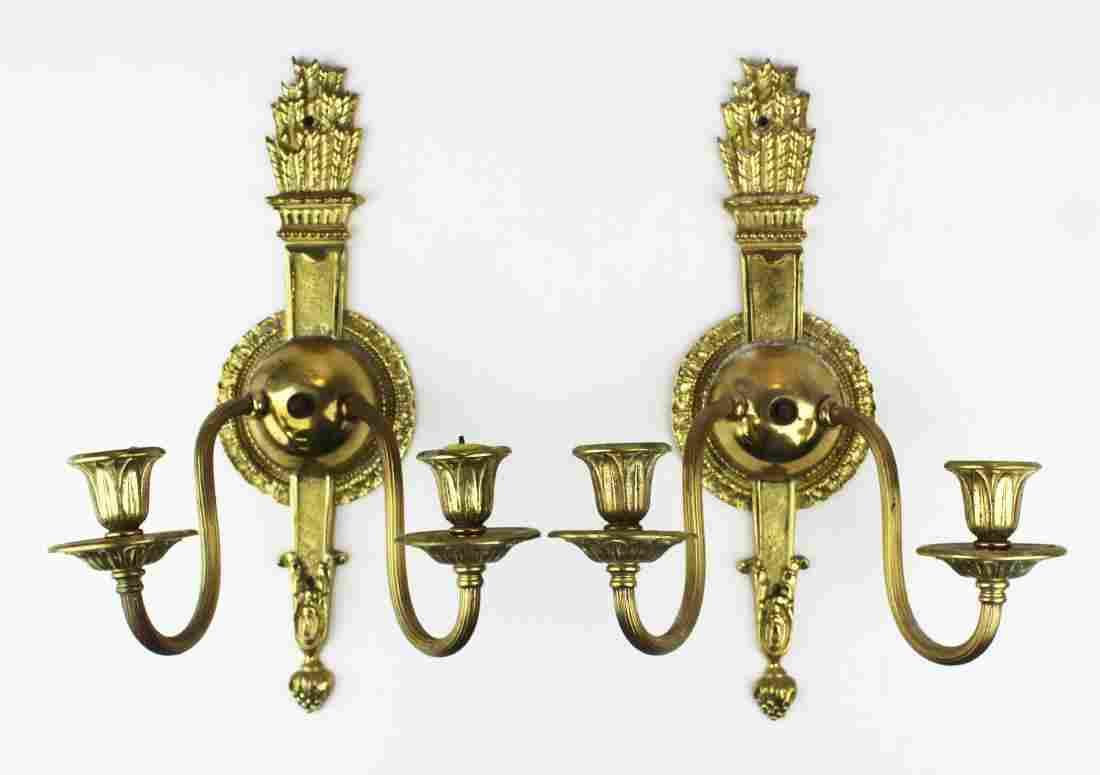 pr of early 20th c brass wall sconces