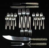 22 pcs. Kirk Repousse sterling silver flatware