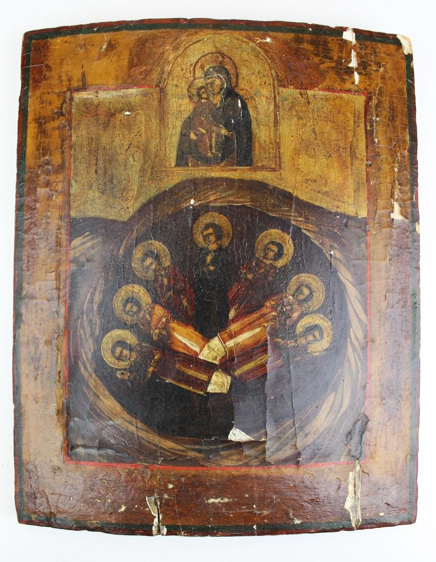 18th c Russian painted wooden icon