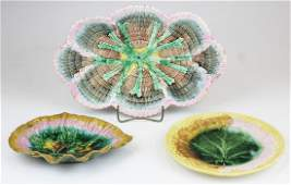 3 signed 19th c Victorian majolica pottery plates