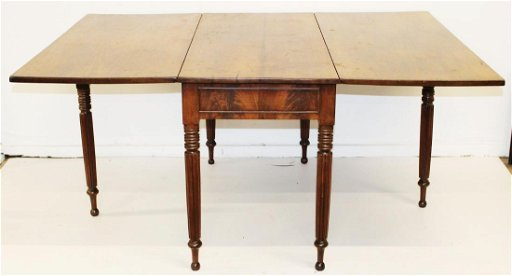 Sheraton Reeded Leg Long Drop Leaf Dining Table