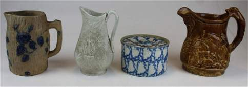 4 pcs Parianware Rockingham Blue decorated Stoneware
