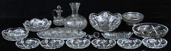 16 pcs. American Brilliant Period cut glass