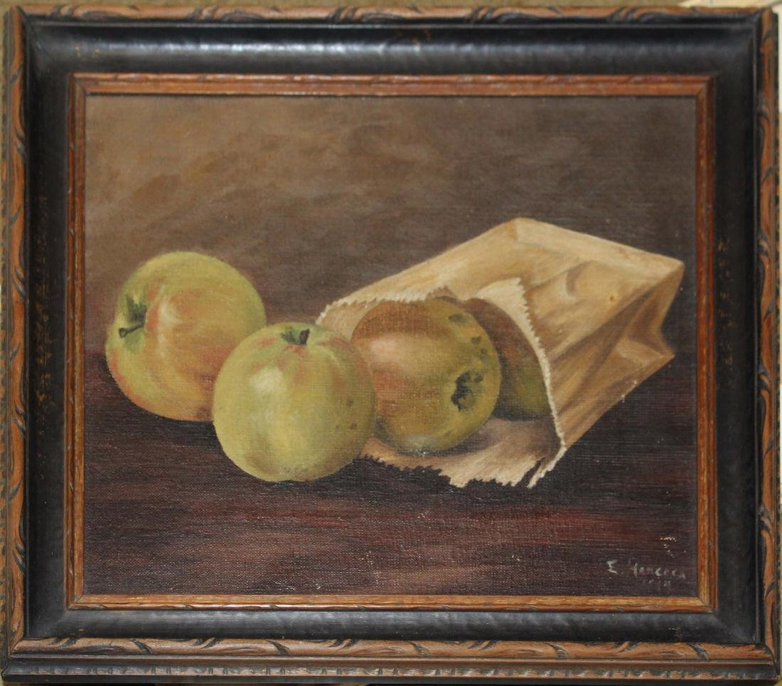 E Hancock (20th c ) Apples in a bag