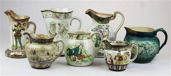 7 Buffalo pottery jugs