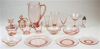 62 pcs. Rose Depression Glass