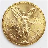 1947 Mexican 50 Pesos gold coin