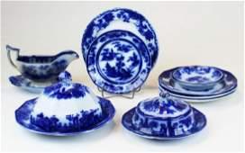 12 pcs Flow blue cobalt ironstone porcelain