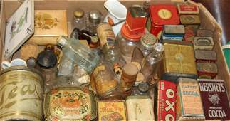 lot of vintage kitchen items and advertising tins