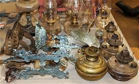 Victorian oil lamps and early lighting parts