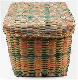 NE Woodland paint decorated storage basket