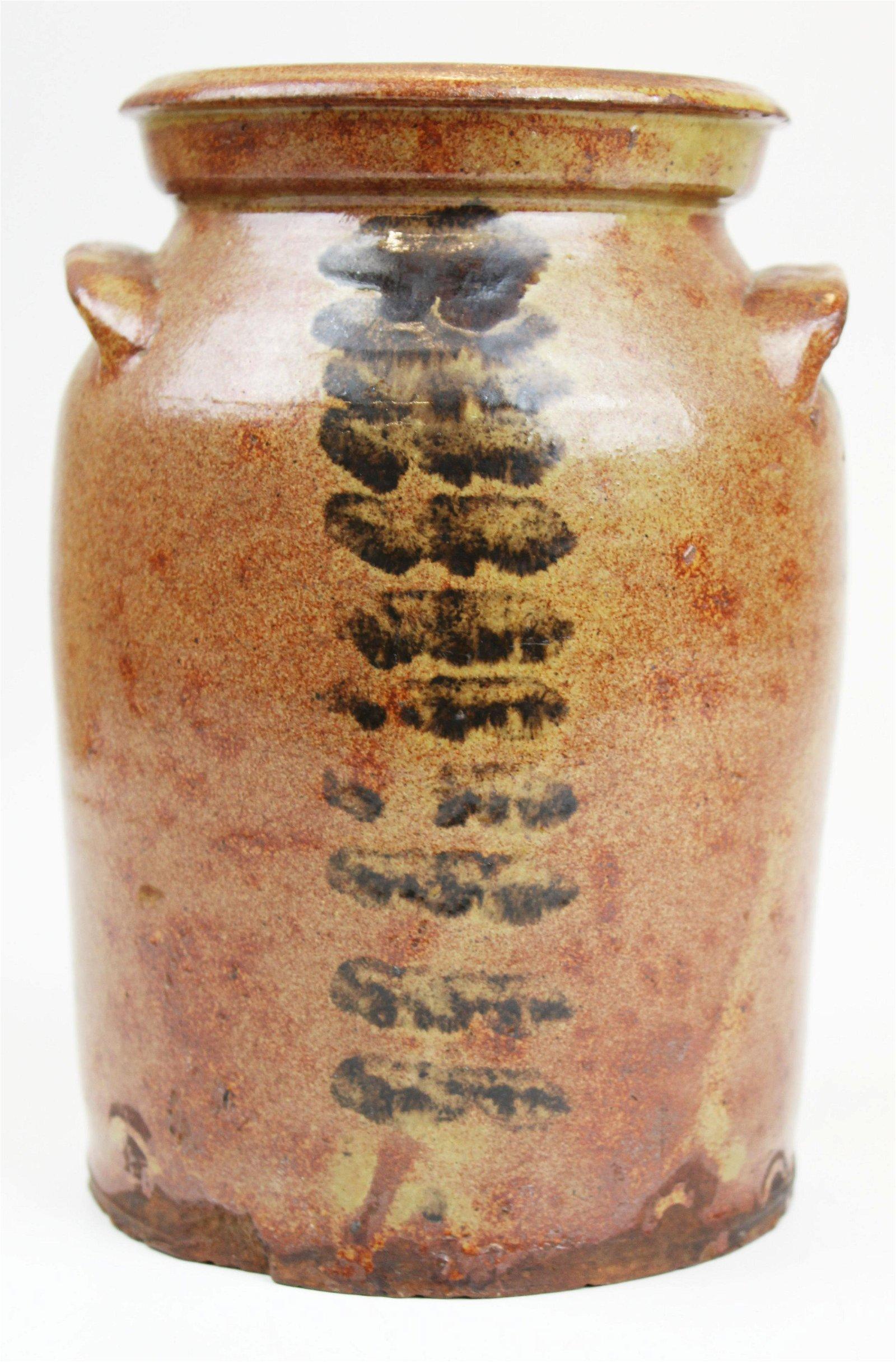 Hinesburg, VT decorated redware jar