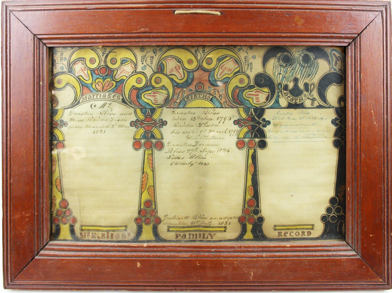 Erastus Bliss Colchester, VT family record