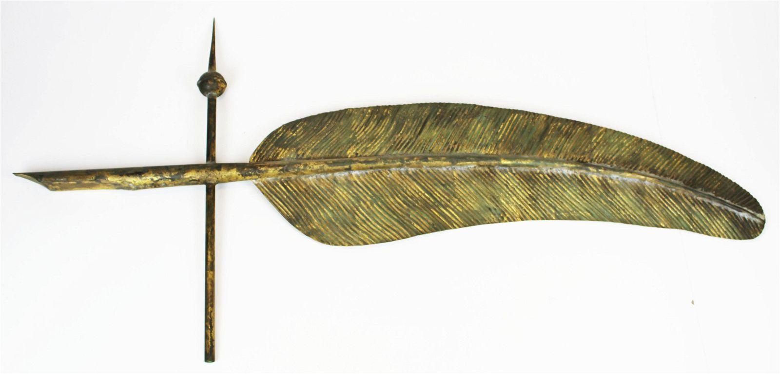 19th c quill weathervane with original gilt