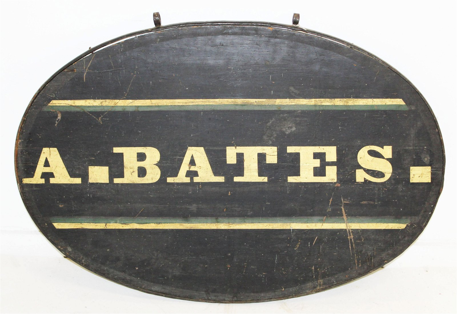 19th c A. Bates oval wood & iron sign