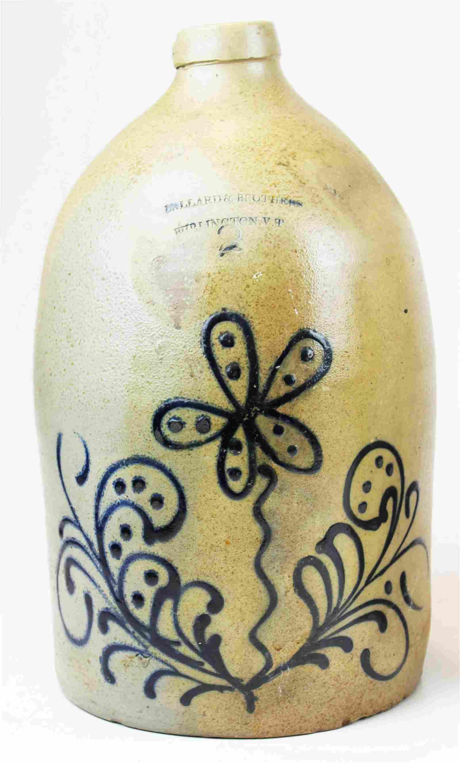 Ballard & Bros blue decorated stoneware jug