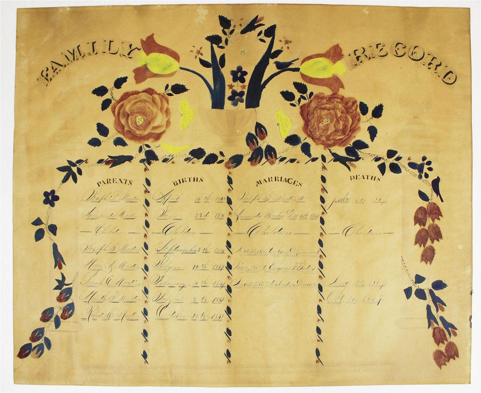 19th c Fairfield Co, CT Martin family record