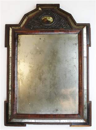 18th c Queen Anne courting mirror