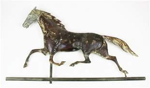 19th c copper running horse weathervane