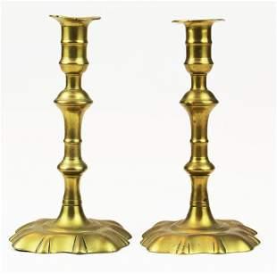 pr of Queen Anne petal base candlesticks