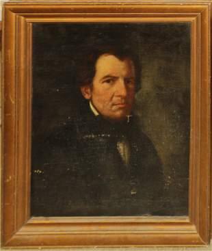 19th c American School portrait of a gentleman
