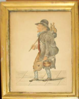 19th C watercolor on paper of a tinker