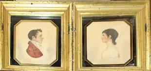 Martha Key Pair of watercolor portraits