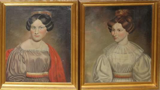 Alonzo Slafter (VT 1801-1864) Pair of portraits