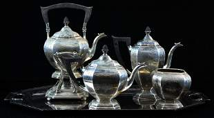 Gorham sterling silver 5 pc. Neoclassical tea set