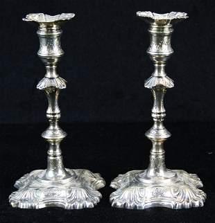 1755 John Cafe London sterling candlesticks