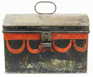 painted tin toleware document box
