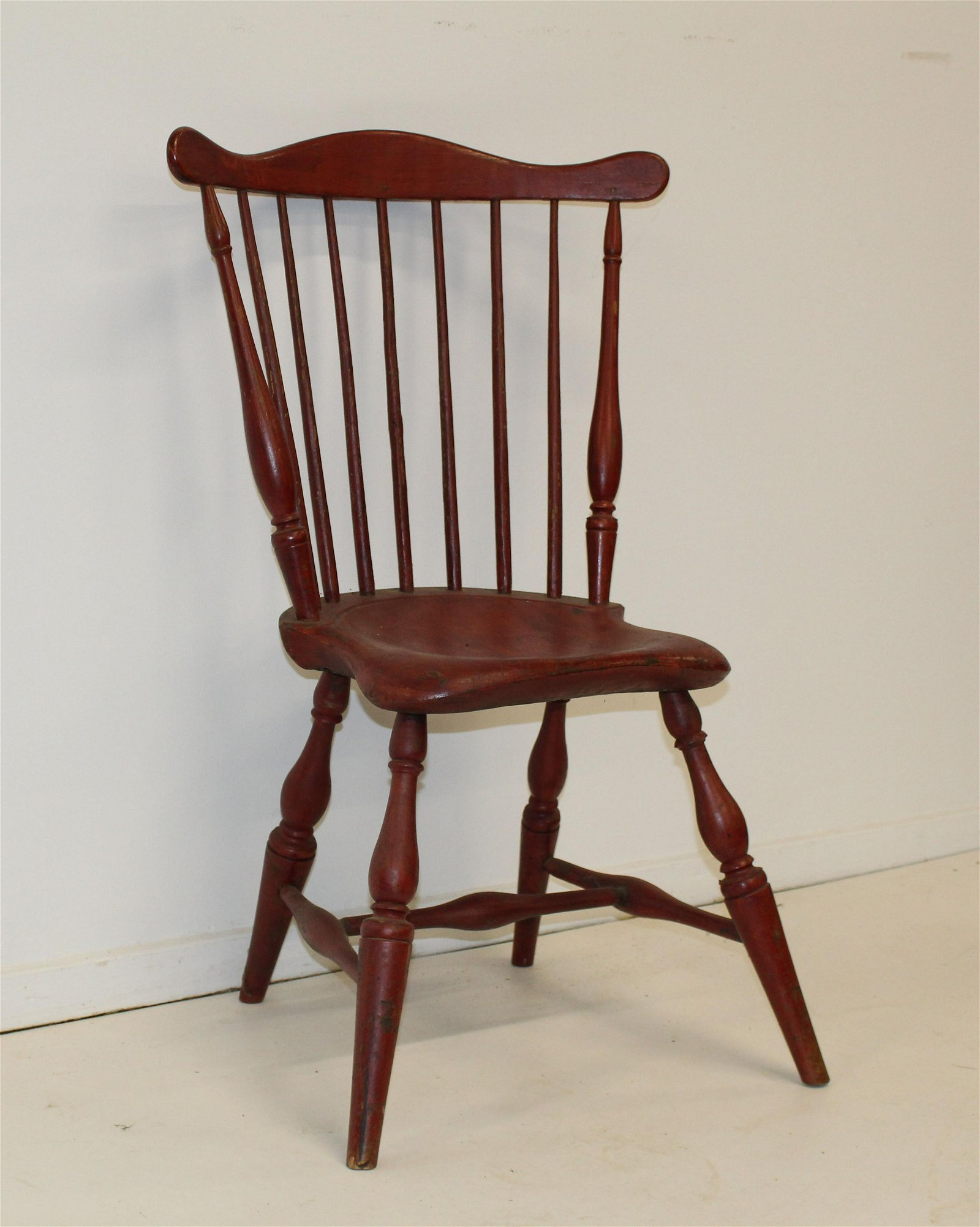 18th c fan back Windsor chair in old surface