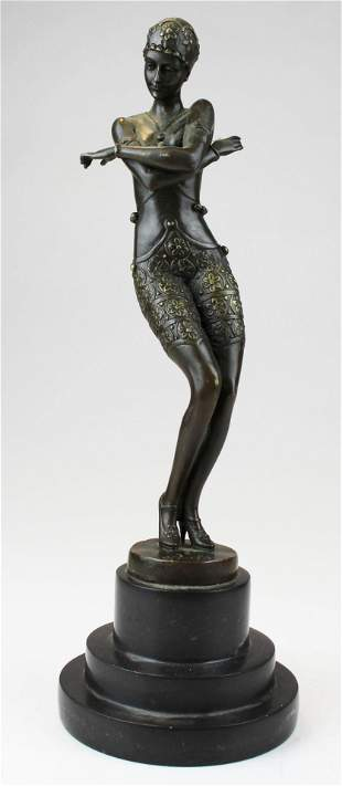 after Ferdinand Preiss Deco dancer bronze