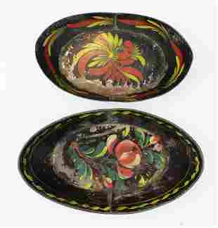 two small painted tin toleware oval trays