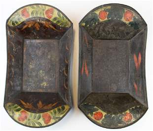 two painted tin toleware bread trays