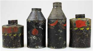 four painted tin toleware tea canisters