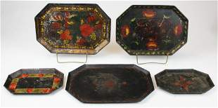 five painted tin toleware trays