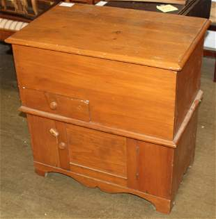 19th c refinished pine lift top commode