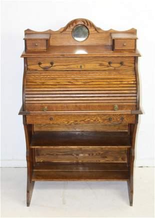 ca. 1900 lady's oak roll top desk