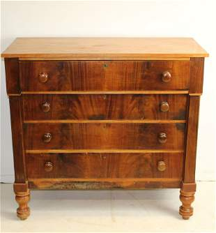 19th c. Federal mahogany and birch chest
