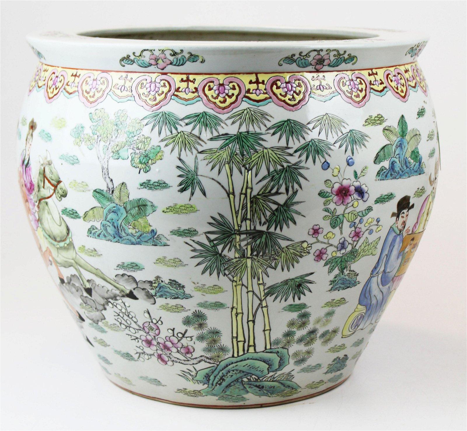 Chinese famille rose enamel decorated fish bowl