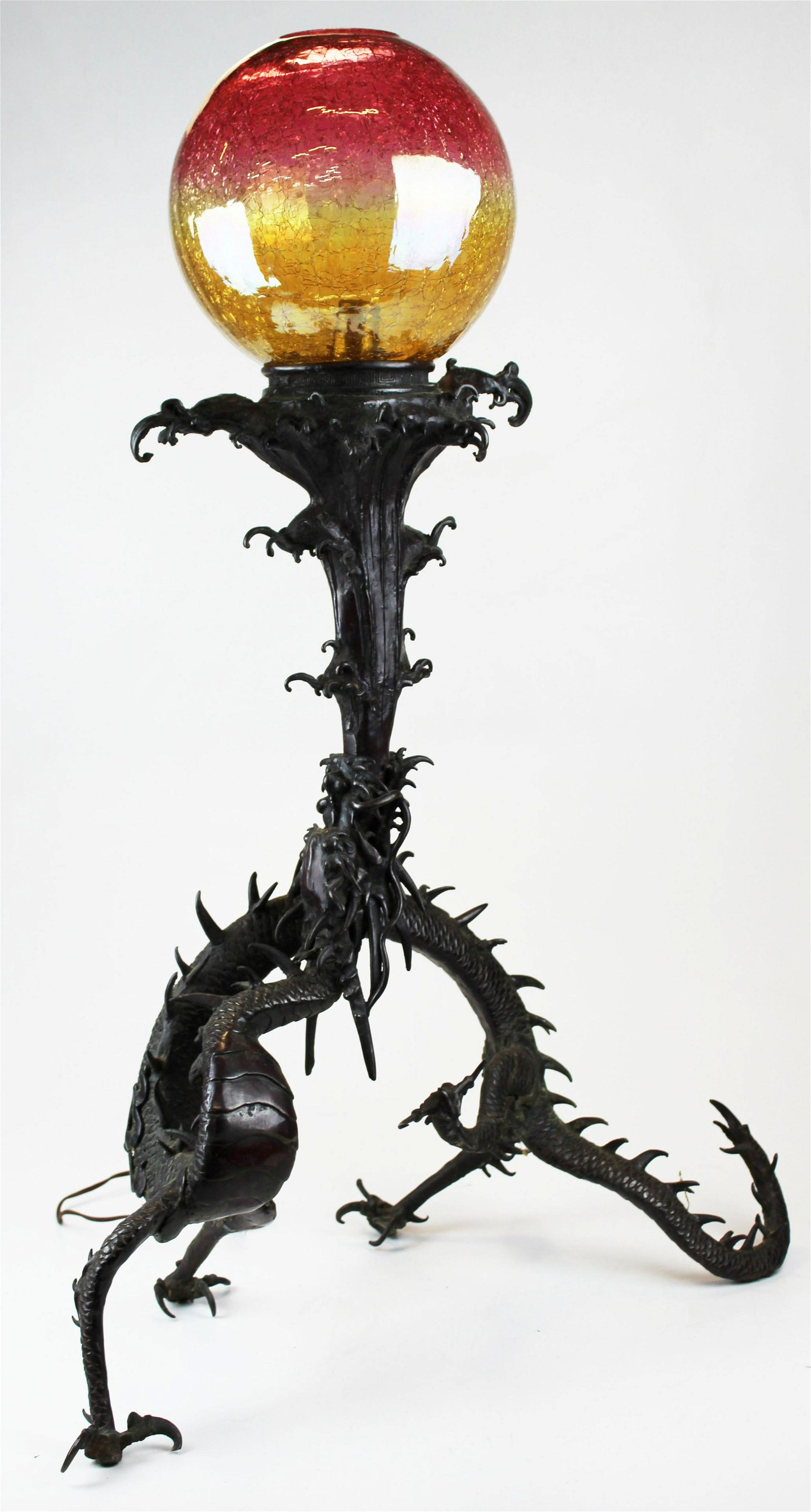 Japanese bronze Okimono dragon lamp