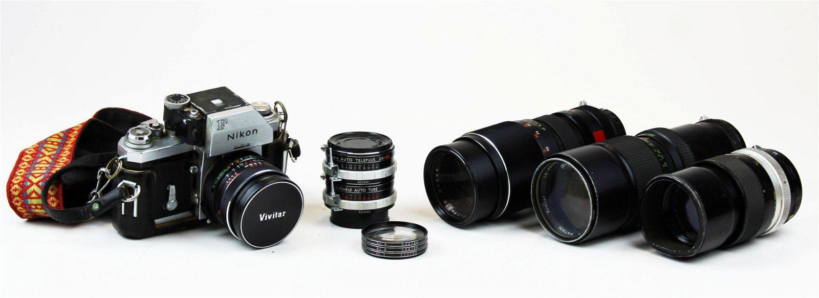 vintage Nikon F camera & Vivitar lenses