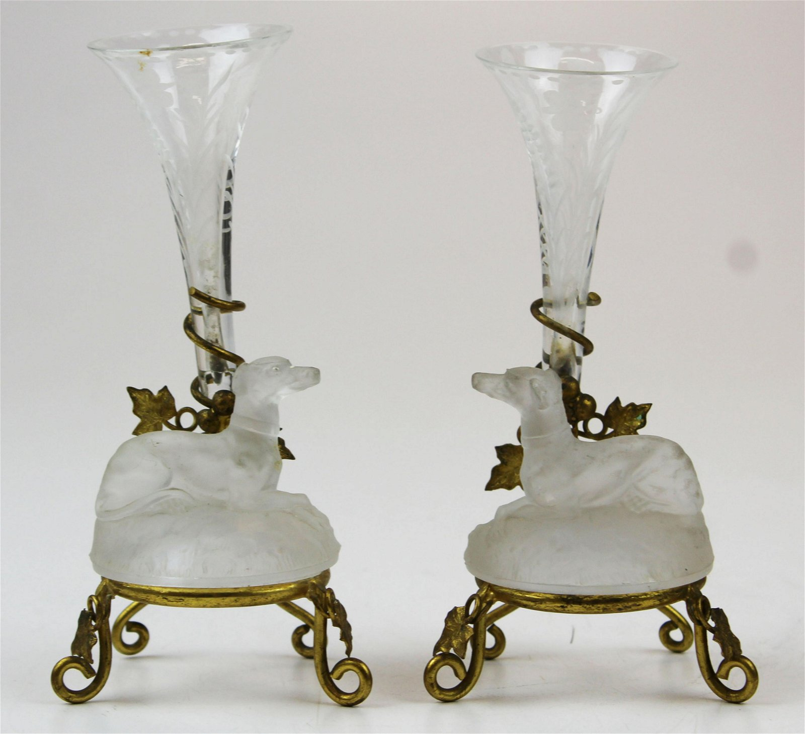 pair of Bohemian glass epergnes with dog figures