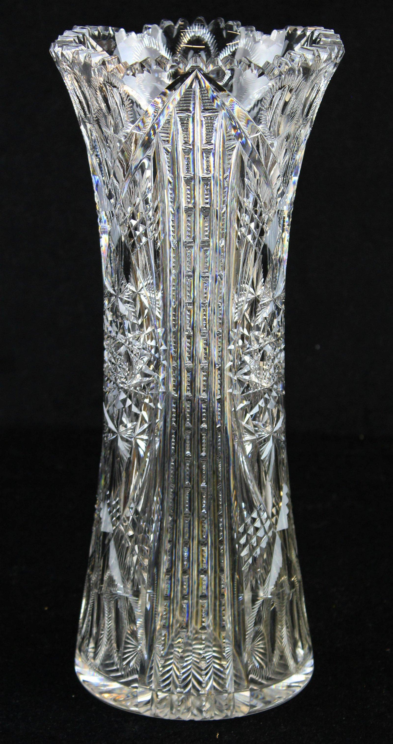 signed Libbey brilliant cut glass bouquet vase