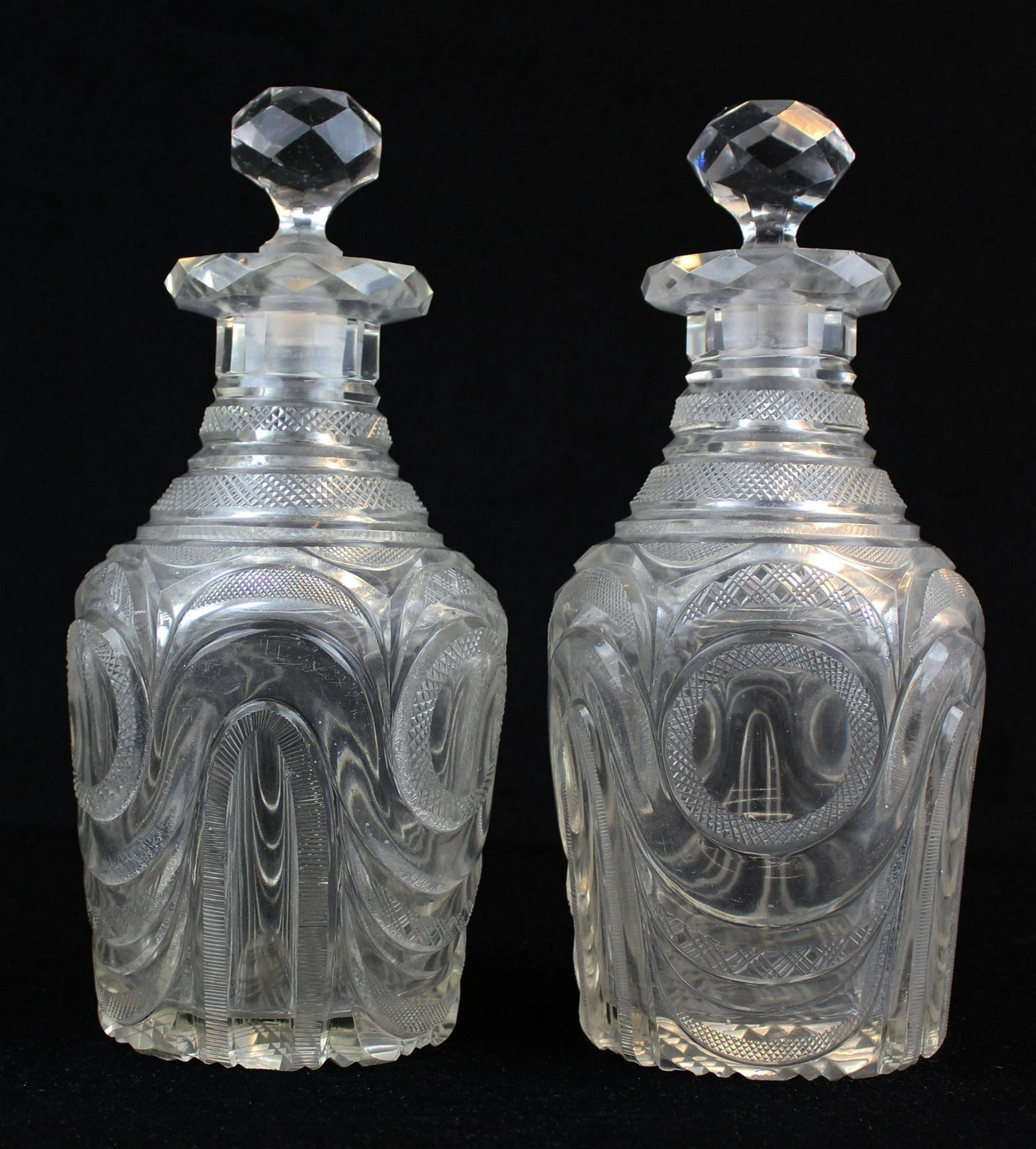 pair of 19th c. Anglo Irish cut glass decanters